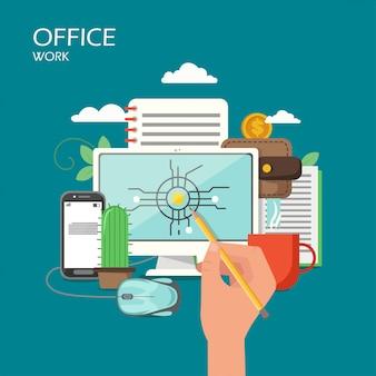 Ilustração de estilo plano de trabalho de escritório