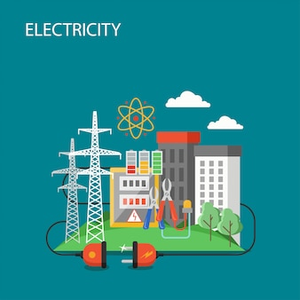 Ilustração de estilo plano de transmissão de eletricidade