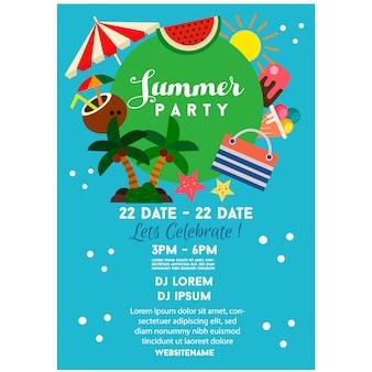 Ilustração de estilo plano verão festa cartaz azul