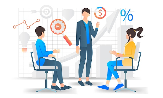 Ilustração de estilo simples de equipe de negócios se reunindo e discutindo o desenvolvimento de negócios