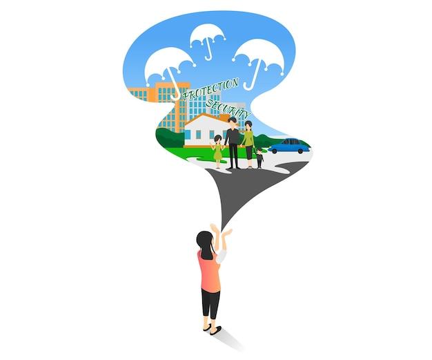 Ilustração de estilo simples e moderno de seguro saúde familiar