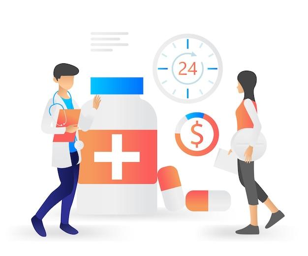 Ilustração de estilo simples e moderno sobre farmácia de saúde