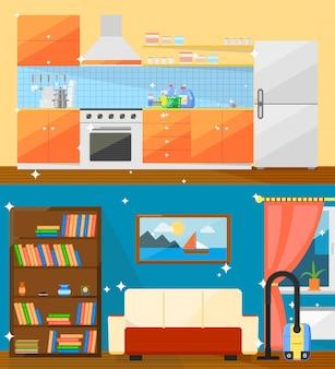 Ilustração de estilo simples em casa limpa