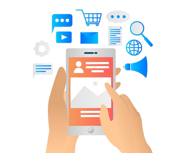 Ilustração de estilo simples sobre estratégia de marketing de mídia social com smartphone e ícone