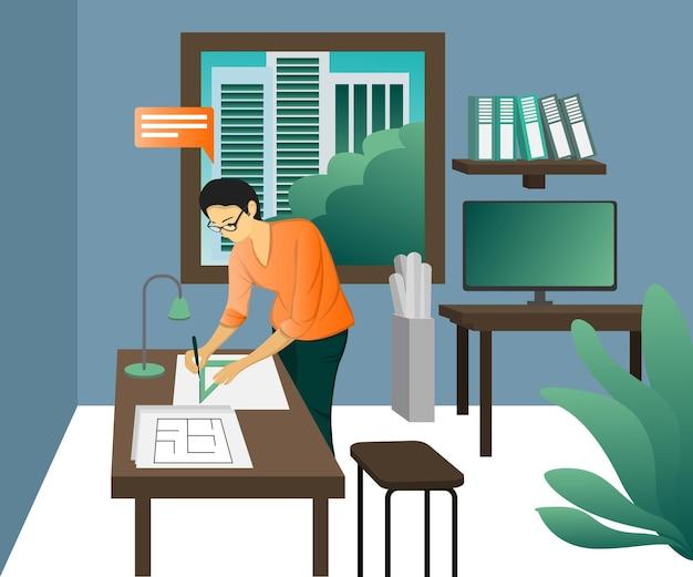 Ilustração de estilo simples sobre um arquiteto trabalhando em seu escritório