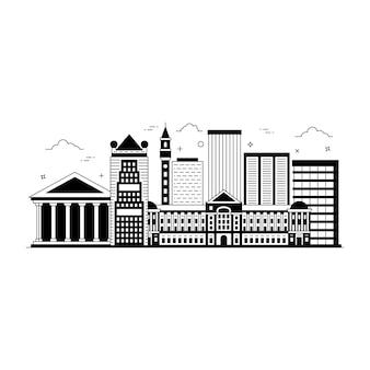 Ilustração de estilo sólido de city skylines