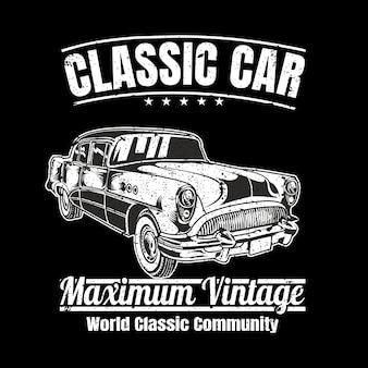 Ilustração de estilo vintage de carro clássico