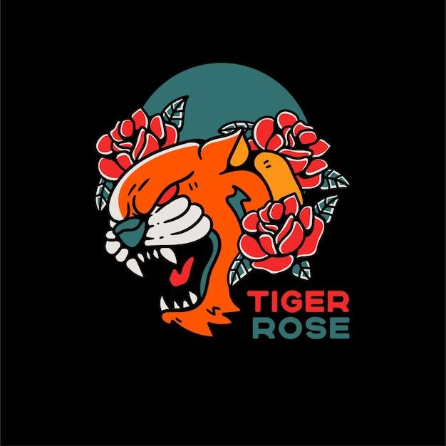 Ilustração de estilo vintage de tatuagem de tigre e rosa