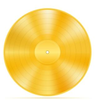 Ilustração de estoque de disco de vinil dourado isolada no fundo branco