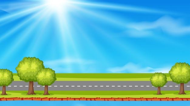 Ilustração de estrada natureza vazia