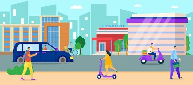 Ilustração de estrada urbana da cidade.