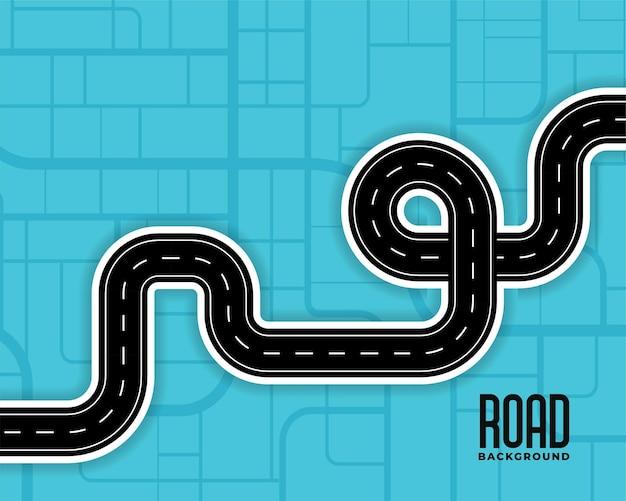 Ilustração de estradas sinuosas de rota do caminho
