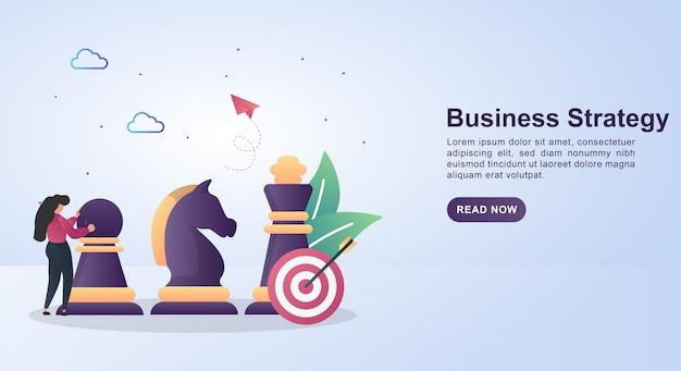 Ilustração de estratégia de negócios com peças de xadrez e alvo.