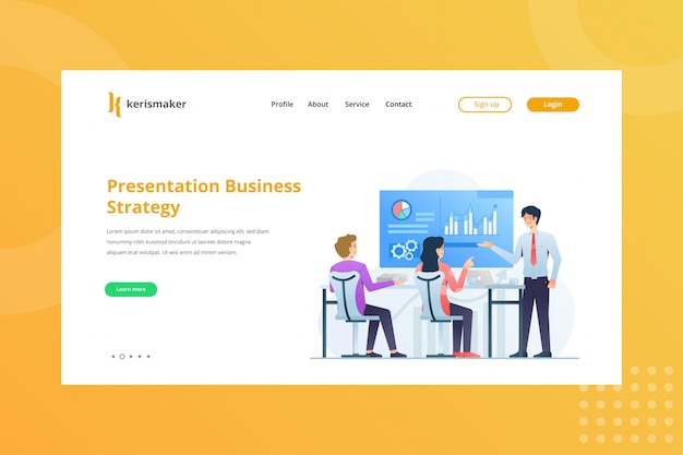 Ilustração de estratégia de negócios de apresentação para o conceito de gestão de negócios na página inicial