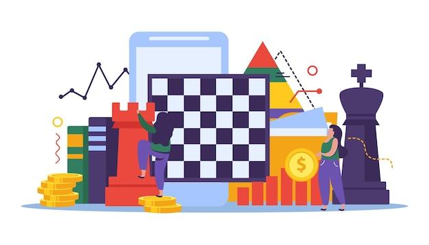 Ilustração de estratégia de negócios e xadrez