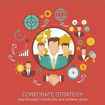 Ilustração de estratégia e parceria de negócios corporativos.