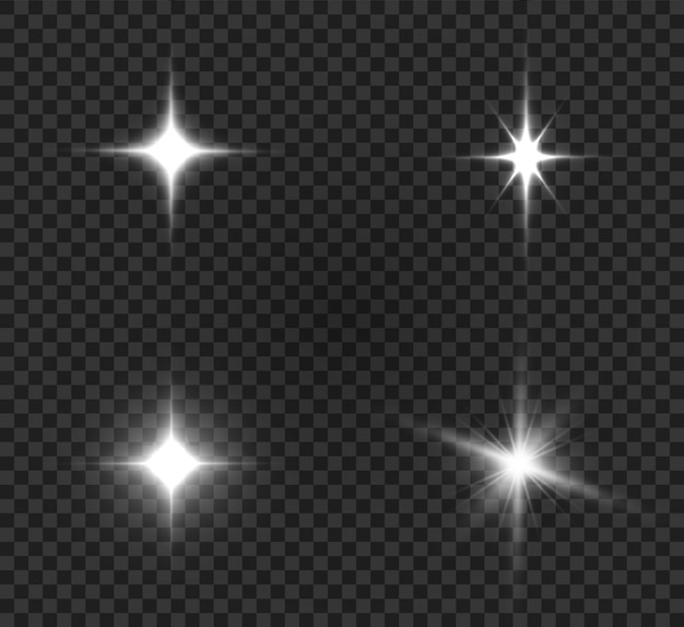Ilustração de estrela brilhante. lindos raios em um fundo transparente