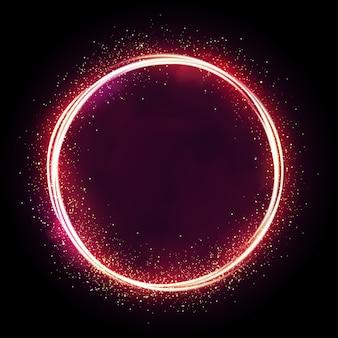 Ilustração de estrela cintilante, círculo de poeira, brilho, luzes.
