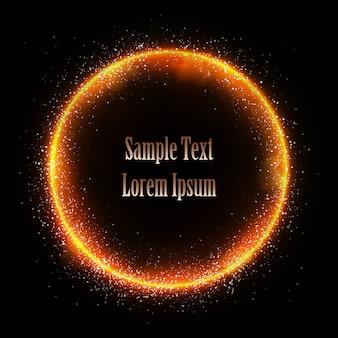 Ilustração de estrela cintilante, círculo de poeira, brilho, ouro, luzes.
