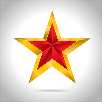 Ilustração de estrela vermelha ouro ícone de símbolo de arte 3d