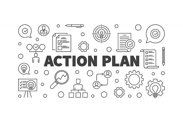 Ilustração de estrutura de tópicos do plano de ação