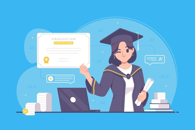 Ilustração de estudante universitário com certificado de graduação