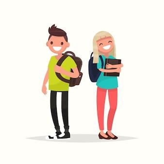 Ilustração de estudantes do jovem casal