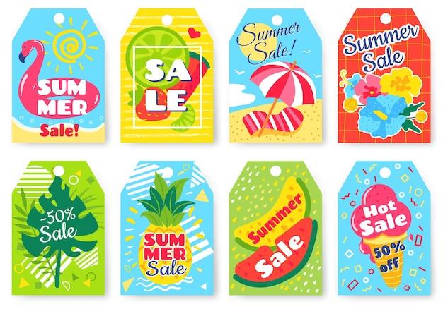 Ilustração de etiquetas de promoção de verão quente