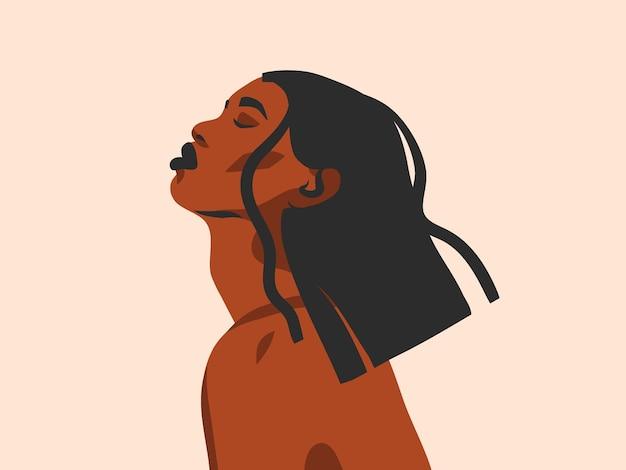 Ilustração de étnica tribal negra linda mulher afro-americana em estilo simples