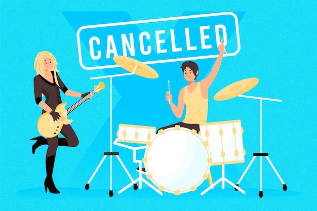 Ilustração de eventos musicais cancelados