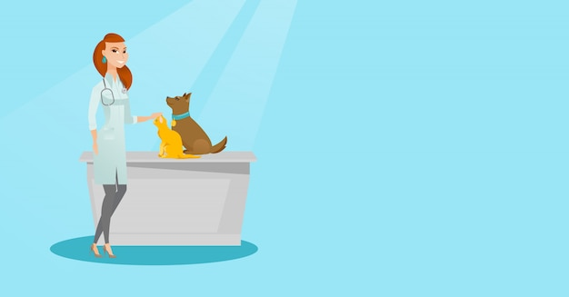Ilustração de exame veterinária do vetor dos cães.
