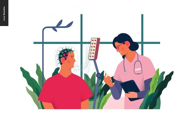 Ilustração de exames médicos - eeg