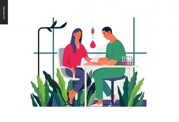 Ilustração de exames médicos - exame de sangue