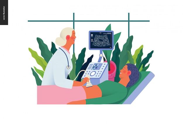 Ilustração de exames médicos - ultra-som