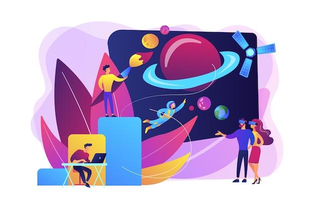 Ilustração de exploração espacial vr