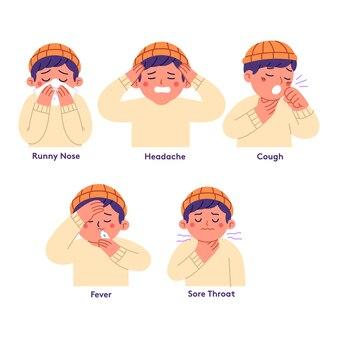 Ilustração de expressões de homens com sinais de contração de vírus ou gripe