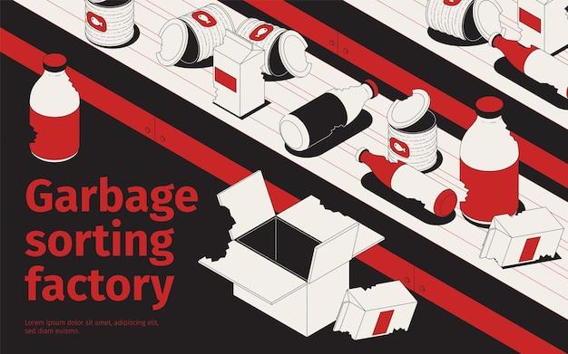 Ilustração de fábrica de triagem de lixo