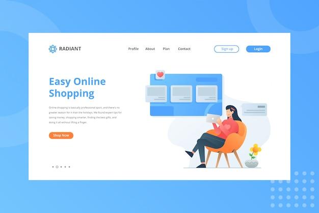 Ilustração de fácil compra on-line para o conceito de comércio eletrônico na página inicial