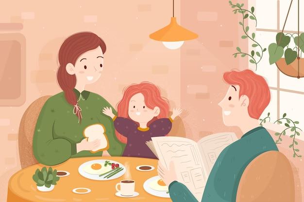 Ilustração de família, aproveitando o tempo juntos