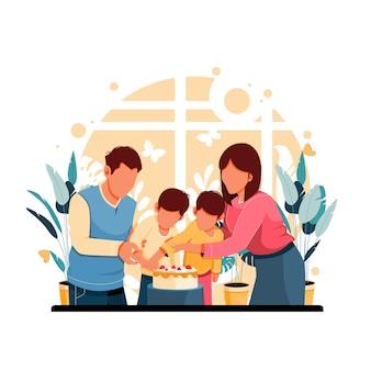 Ilustração de família comemorando aniversário