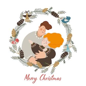 Ilustração de família de natal com coroa decorativa