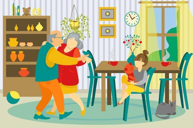 Ilustração de família em casa juntos