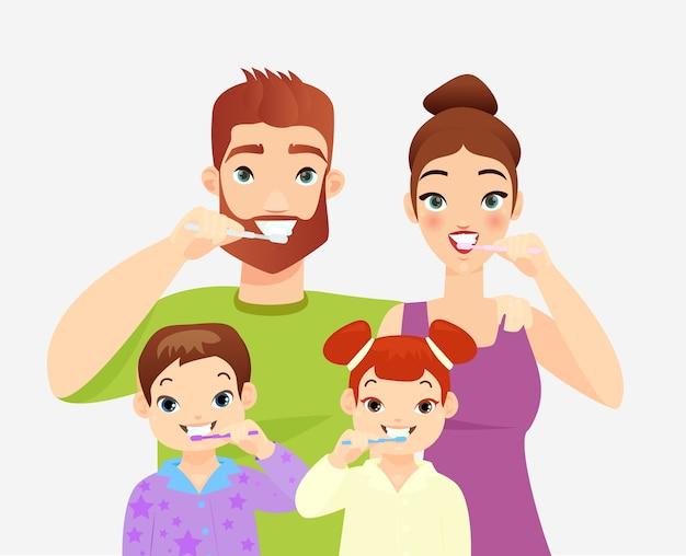 Ilustração de família escovando os dentes pais e filhos limpando os dentes com escovas de dente