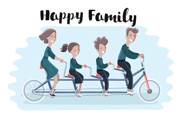 Ilustração de família feliz andando de bicicleta tandem