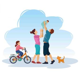 Ilustração de família feliz brincando lá fora