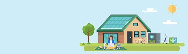 Ilustração de família feliz e casa moderna sustentável ecológica