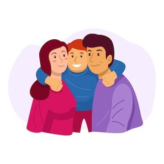 Ilustração de família feliz, mãe, pai e filho