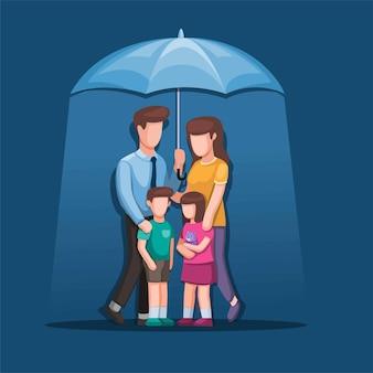 Ilustração de família feliz sob o guarda-chuva