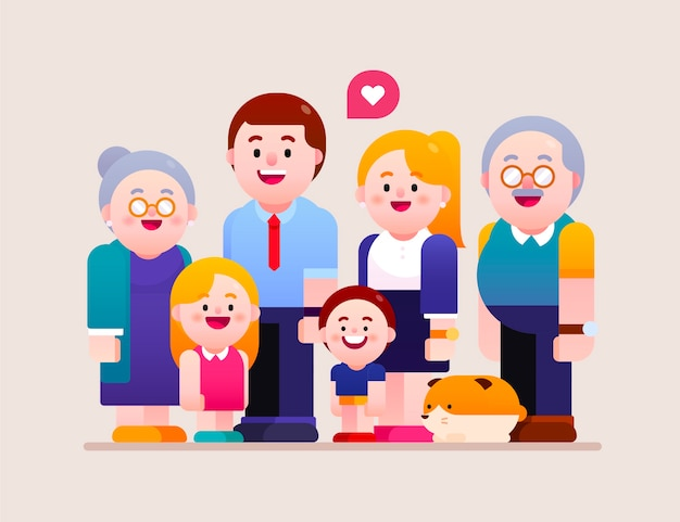 Ilustração de família feliz todos juntos