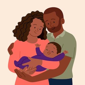 Ilustração de família negra desenhada à mão plana com um bebê
